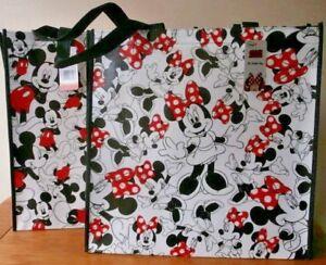 DISNEY Shopper Bag MICKEY & MINNIE MOUSE TOTE Black & White WIPE CLEAN 2 Designs
