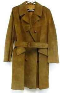 1970's 80's Rare Trench Coat Herman Phillips Loewe Leather Satin Lining 52