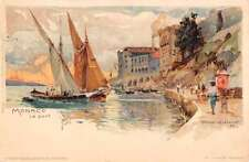 Monaco Port Harbor Sailboat Antique Postcard K72078