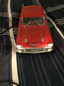 New Bright 57 Chevy Bel Air Remote Control Corded RC Car 1986 Red TESTED WORKS