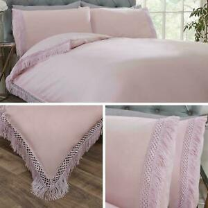 Tia Trellis Blush Pink Duvet Quilt Cover Luxury LACE TRIM Bedding Set ~ FREE P&P