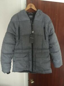Mens Peter Werth Grey Hooded Coat Size Large