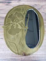 "Vintage 9.25"" x 7.25"" Engraved Bronze oval wall decoration with inserted mirror"