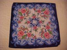Vintage Hanky w/ Pink Flowers & Blue Ribbon Bows