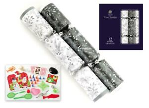 Tom Smith Box Of 12 Silver / White Christmas Crackers Family Table Decoration