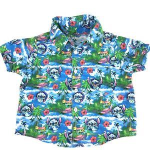 Stitch Hawaiian Shirt Boys Size 3T Handmade Lilo & Stitch Collar Short Sleeves