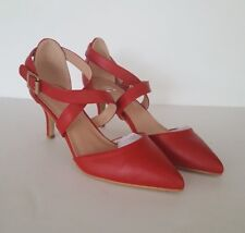Women's JC Red Riva Strappy High Heels Closed Pointed Toe, Size 7