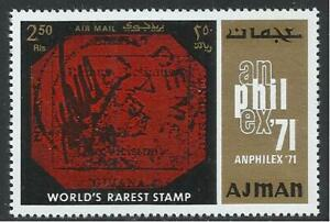 Ajman - 1971 1v. MNH World's Rarest Stamp Guyana Magenta  Stamp on Stamp