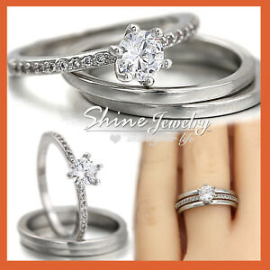 18K WHITE GOLD GF 1CT SOLITAIRE CRYSTAL ENGAGEMENT WEDDING PLAIN BAND RINGS SET