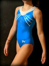 GK Elite Gymnastics Leotard Turquoise White Foil Sequins Size CM