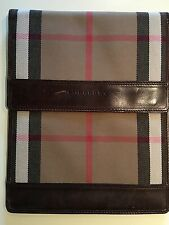 BURBERRY check brown leather ipad Tablet kindle case cover cross body bag