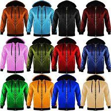 0ea37f0cc Unisex Mens Womens Light Weight Anorak Jacket Hooded Rain Coat Look ZIP  Bomber