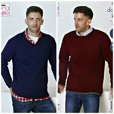 KNITTING PATTERN Mens Easy Knit Round & V-Neck Jumpers DK King Cole 5259