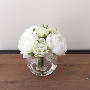 Artificial Fake Silk Flower White Peony Artificial Water Clear Glass Vase 20cm H