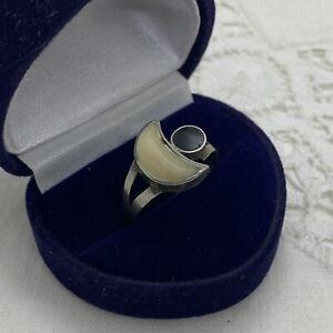 CRESCENT MOON Dress Ring Size UK R.5 Shell & Black Enamel Costume Studio Made