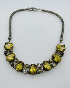 Vintage Sterling Silver Yellow Lemon Citrine Statement Necklace Signed AF