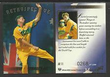 FUTERA 1996 WORLD CUP CRICKET PAUL REIFFEL Retrospective AR11  #0268 of 1000