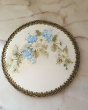 Vintage Hand Painted Metal Frame Decorative Ceramic Plate Floral Flowers Signed