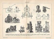 A6432 Pompe - Stampa Antica del 1929 - Incisione