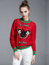 Red Lace Butterfly Patch Sweater With Red And Green Trim