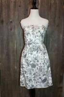 SZ 4 Women's Strapless Dress Old Navy White Gray Floral EUC