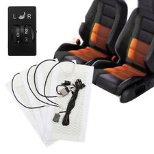 12V Universal Carbon Fiber Heating Pads Car 2-Seats Heater Kit w/ 5-level Switch
