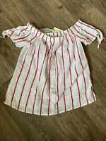 White Red Stripe Button Front Cotton Off Shoulder Top 10 Tagged Papaya