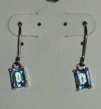!! NEW !!  STERLING SILVER BLUE TOPAZ EARRINGS - BEAUTIFUL !! - Rectangle