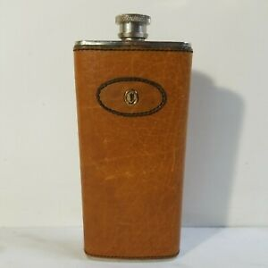 Vtg Caracciola Gold PFeil Germany Leather Bound Liquor Hip Flask 5 Oz