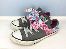 f93309e112d CONVERSE ALL STAR Womens 6 Gray Pink Bow Slip on Excellent