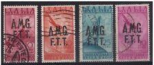 TRIESTE ZONA A AMG-FTT 1947 AEREA L. 10 + 20 + 25 + 50 USATI CON 3 VARIETA' € 60