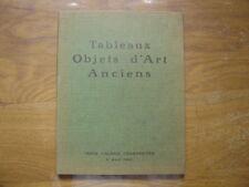Catalogue de Vente aux Encheres 1960 OBJETS D'ART tapisseries tableaux dessins