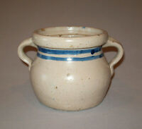 Old Antique Vtg Early 1900s Stoneware Pottery Sugar Bowl Illinois? Dbl Blue Band