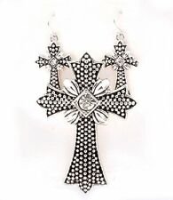 Western Cross Silver Tone Crystal Accents Magnet Closure Pendant Earring Set