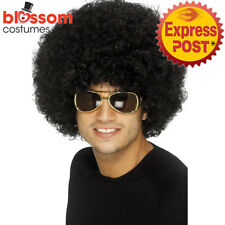 W484 70s Funky Black Wig Adult Afro 1960 1970s 80s Disco Costume Party Curly Wig