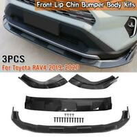 For Toyota RAV4 2019-2020 Carbon Fiber Front Bumper Lip Kit Spoiler Splitter DHL