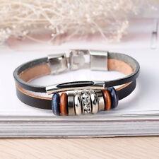 Leder Armband Armreif für Herren Damen Silber-Style Strass NEU #32