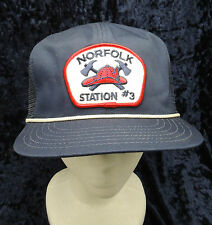 Vintage Norfolk Firefighter Station #3 Mesh Backed Trucker  Hat Cap Snapback