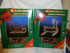 "2 Vintage 18"" Lighted Christmas Silhouette Wall Window Hanging raindeer sleigh"
