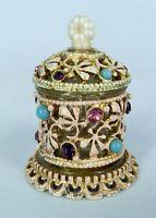 Vintage FLORENZA ITALY Perfume Bottle & Dauber Light PINK EMBELLISHED