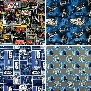 Star Wars Printed Licensed Fabric 100% Cotton Craft Sheet Material 110cm wide