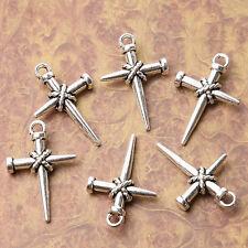 Tibetan silver plated nail cross charm pendants  14pcs  EF3535