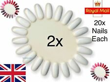 2 x Nail Colour Display Wheel Stand Gel Art Practice False Tips White Palette