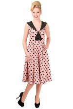 Women's Nude Colour Polka Dots Vintage Retro Rockabilly Dress By BANNED Apparel