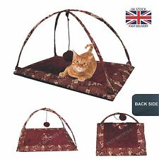 NEW UK PRINT PET CAT ACTIVITY FOLDABLE PLAYING TENT TOY BED PAD DOG MAT HOUSE UK