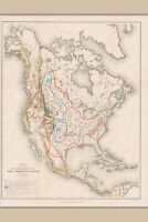 Extermination of the American Bison Antique Map by Hornaday, 1889