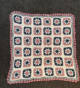 "Crochet Blanket, Cream, Rose, Navy & Mint Granny Squares & Scalloped Edge 32x32"""