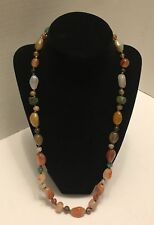 """Vintage Single Strand Natural Polished Stone Necklace Earthy Tones 25"""" long"""