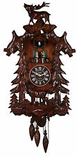 Cuckoo Clock Wood Large Handcrafted Deer with 4 Dancing Dancers Music Coo Coo