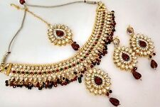 Wholesale Lot of 10 Indian Gold Plated Kundan Maroon Green Fashion Necklace Sets